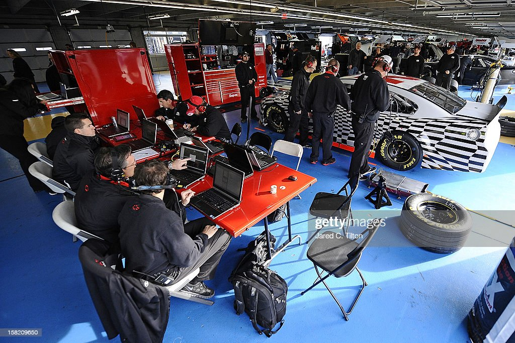 A general view of the garage area during testing at Charlotte Motor Speedway on December 11, 2012 in Concord, North Carolina.