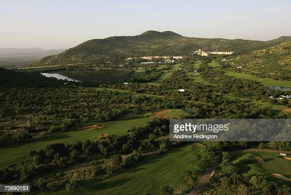 A general view of the Gary Player Country Club with The Sun City Hotel and Cascades hotel behind prior to the start of the second round of The...