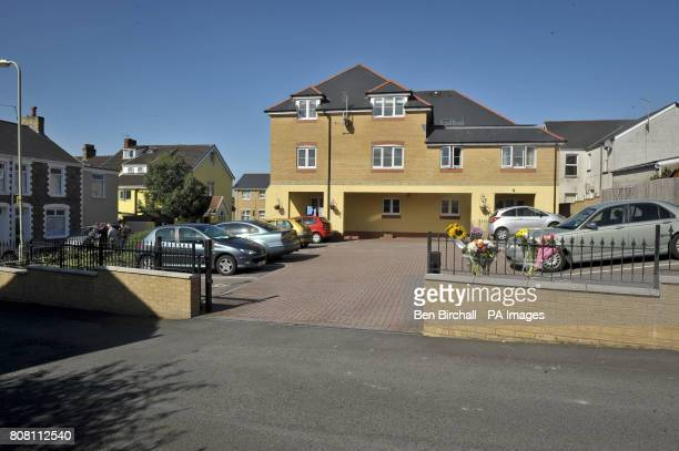 General view of the gated entrance where a fiveyearold girl died after she was trapped by an automatic sliding gate outside Brook Court Bridgend...