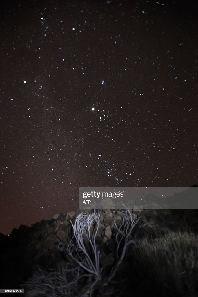 A general view of the Geminid meteor shower in the National Park of El Teide on the Spanish canary island of Tenerife on December 13, 2012.