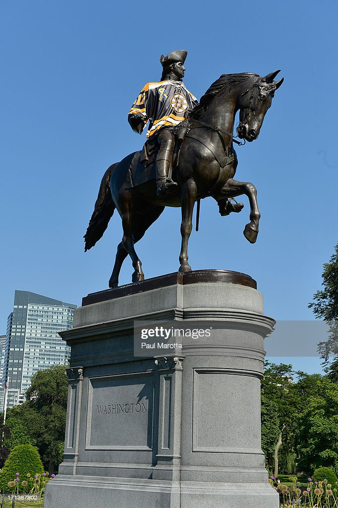 A general view of the George Washington Statue on the Boston Common sporting a Boston Bruins jersey during the Stanley Cup Playoffs on June 19, 2013 in Boston.