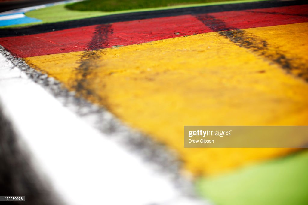 A general view of the German national flag painted on the track during previews ahead of the German Grand Prix at Hockenheimring on July 17, 2014 in Hockenheim, Germany.