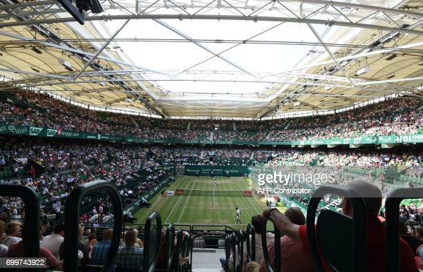 A general view of the GerryWeberStadium during the ATP tournament tennis match in Halle western Germany on June 22 2017 / AFP PHOTO / CARMEN JASPERSEN