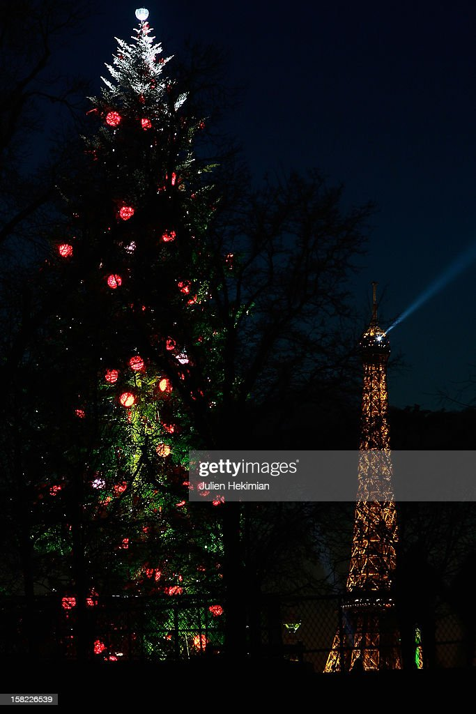 A general view of the giant Christmas tree (35 meters) which was installed at the concorde place on December 11, 2012 in Paris, France.