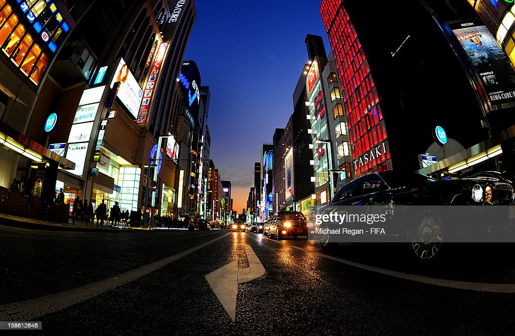 A general view of the Ginza district ahead of the FIFA Club World Cup on December 6, 2012 in Tokyo, Japan.