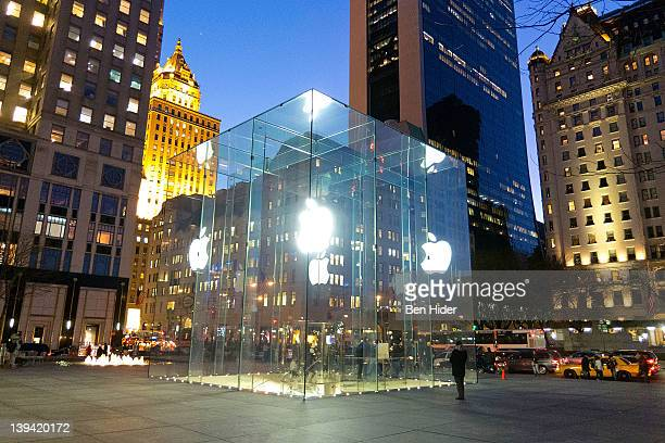 A general view of the glass cube facade of the Fifth Avenue Apple store in front of the Plaza Hotel on February 9 2012 in New York City