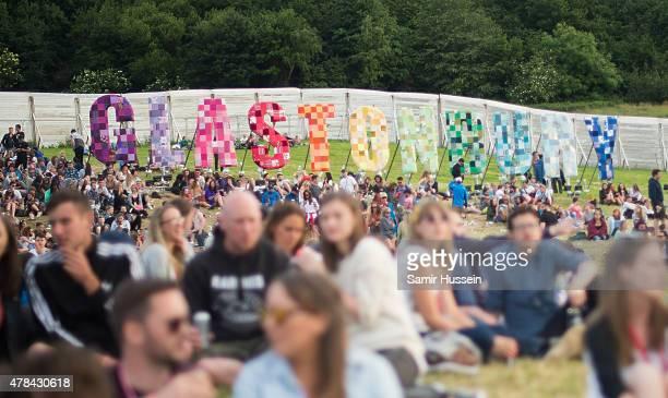 A general view of the Glastonbury Festival at Worthy Farm Pilton on June 24 2015 in Glastonbury England