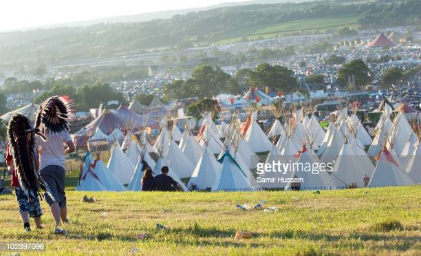 A general view of the Glastonbury Festival on June 24 2010 in Glastonbury England Glastonbury has become Europe's largest music festival and is...