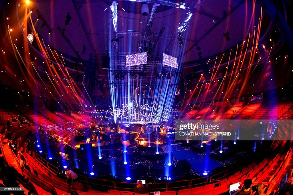 A general view of the Globe Arena during a rehearsal of Samra from Azerbaijan performing the song 'Miracle' for the Eurovision Song Contest 2016 in Stockholm, Sweden, on May 6, 2016. / AFP / JONATHAN