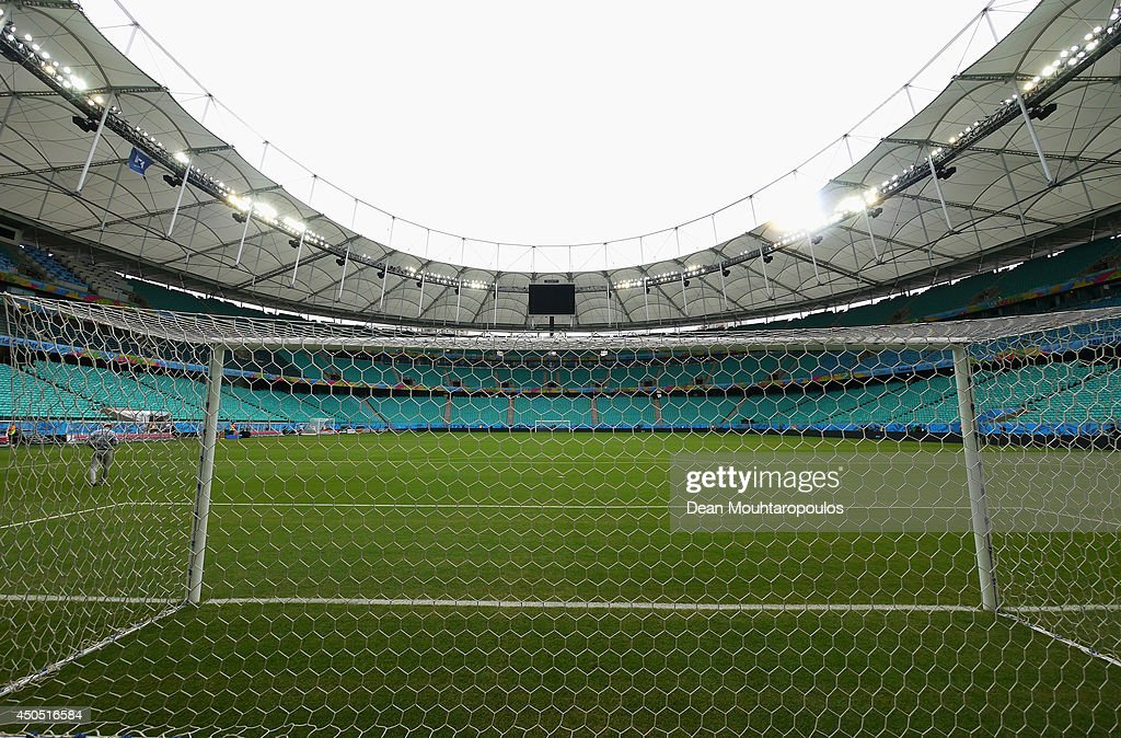 A general view of the goal mouth and stadium prior to the Spain training session ahead of the 2014 FIFA World Cup Group B match between Spain and the Netherlands held at the Arena Fonte Nova on June 12, 2014 in Salvador, Brazil.