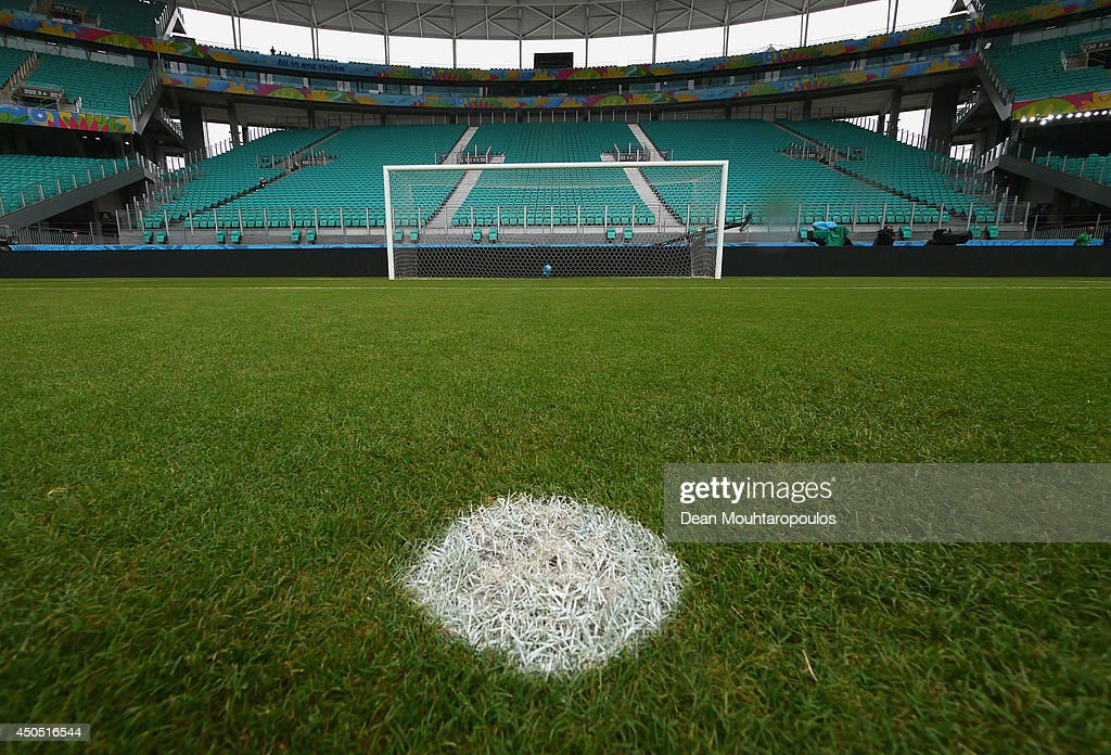 A general view of the goal mouth and the penalty spot prior to the Spain training session ahead of the 2014 FIFA World Cup Group B match between Spain and the Netherlands held at the Arena Fonte Nova on June 12, 2014 in Salvador, Brazil.