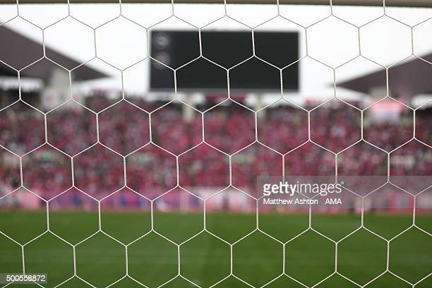 A general view of the goal net before the J2 Promotion Play Off Final between Avispa Fukuoka and Cerezo Osaka at Yanmar Stadium on December 6 2015 in...
