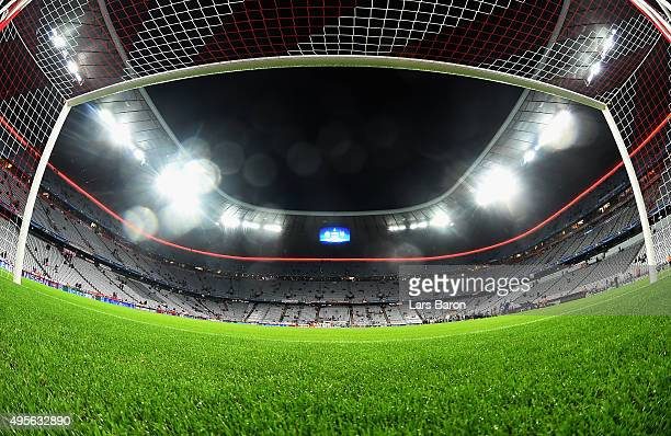 A general view of the goal prior to the UEFA Champions League Group F match between FC Bayern Muenchen and Arsenal FC at the Allianz Arena on...