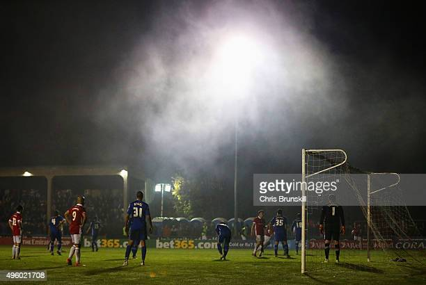 A general view of the goalmouth during the Emirates FA Cup first round match between Salford City and Notts County at Moor Lane on November 6 2015 in...