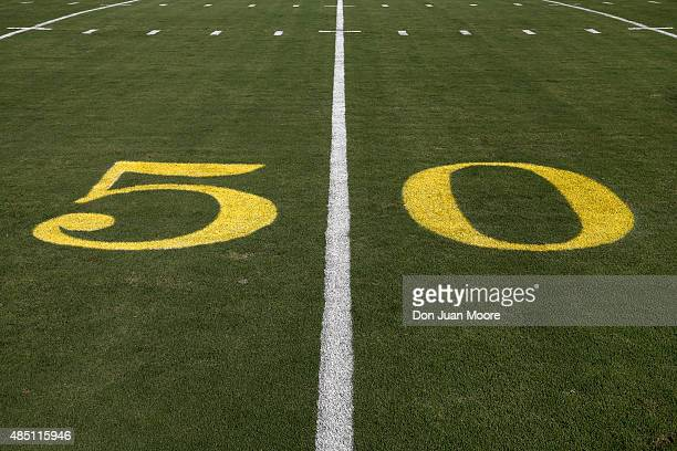 A general view of the gold numbers for the 50 yard line before the Pittsburgh Steelers played against the Jacksonville Jaguars in an NFL preseason...