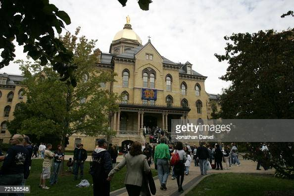 A general view of the Golden Dome is seen on the campus of Notre Dame prior to the Notre Dame Fighting Irish's game against the Purdue Boilermakers...