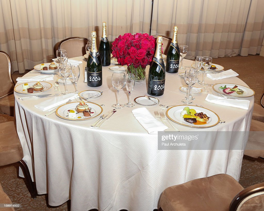 General View of the Golden Globes menu and table preview at The Beverly Hilton Hotel on January 3, 2013 in Beverly Hills, California.