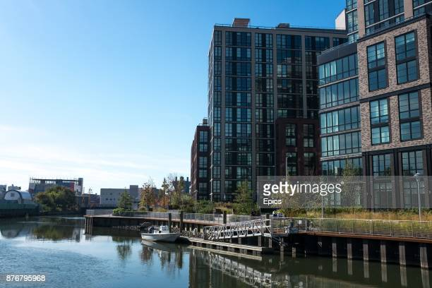 A general view of the Gowanus Canal and a new residential development in the Red Hook area of Brooklyn the canal was once a busy cargo hub but today...