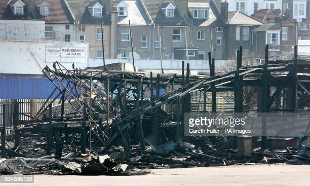 A general view of the Grade II listed Scenic Railway on the Dreamland Amusment Park in Margate Kent which was partly destroyed by fire earlier this...
