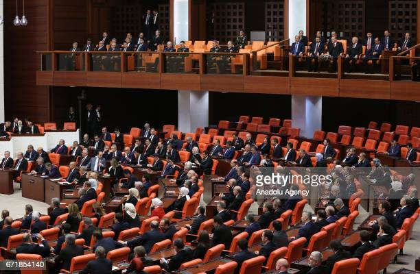 A general view of the Grand National Assembly of Turkey during the special session as part of the 97th anniversary of foundation of Grand National...