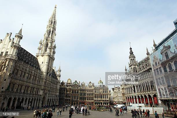 A general view of the Grand Place in the city centre where a minute's silence was held during a national day of mourning on March 16 2012 in Heverlee...