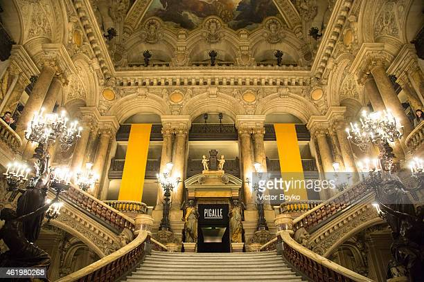 A general view of the grand stairway of Opera Garnier during the Piaglle Menswear Fall/Winter 20152016 show as part of Paris Fashion Week on January...