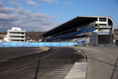 A general view of the grandstand and a section of the Sochi International Street Circuit ahead of the Sochi 2014 Winter Olympics on February 2 2014...