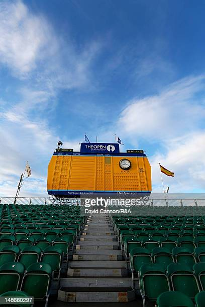 General View of the grandstand and leaderboard on the 18th hole during the third practice round prior to the start of the 141st Open Championship at...