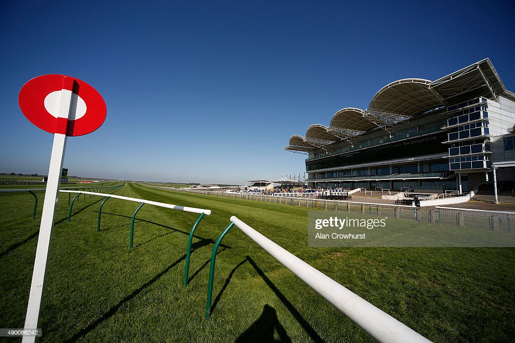 A general view of the grandstand at Newmarket racecourse on September 26 2015 in Newmarket England