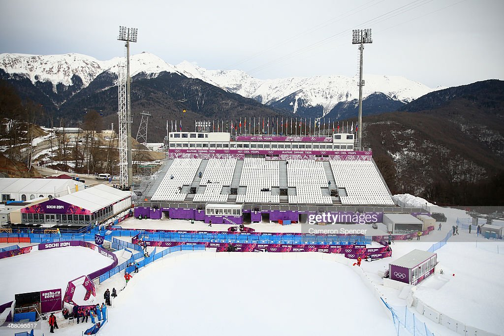 A general view of the grandstand at the Aerials, Half-Pipe and Moguls venue during day two of the Sochi 2014 Winter Olympics at Rosa Khutor Extreme Park on February 9, 2014 in Sochi, Russia.