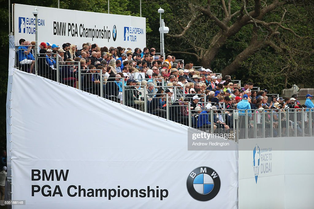 General View of the grandstand on the 1st hole during day four of the BMW PGA Championship at Wentworth on May 29, 2016 in Virginia Water, England.