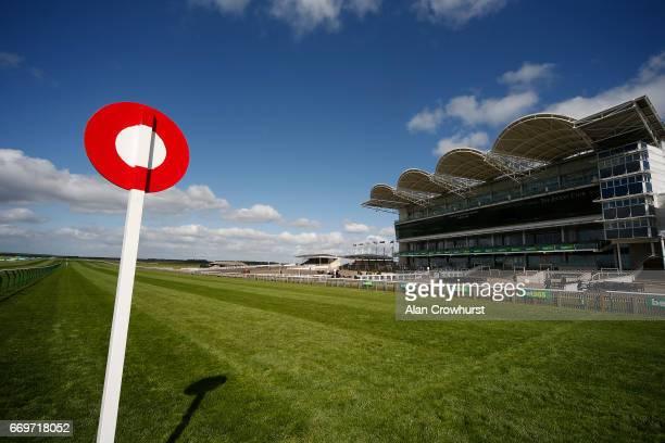 A general view of the grandstand on the Rowley Mile at Newmarket Racecourse on April 18 2017 in Newmarket England
