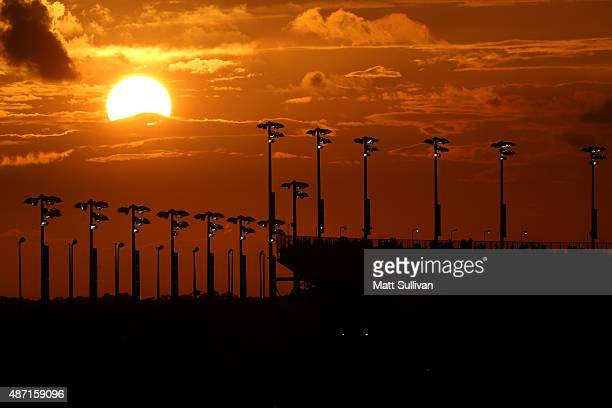 A general view of the grandstands as the sun sets during the NASCAR Sprint Cup Series Bojangles' Southern 500 at Darlington Raceway on September 6...