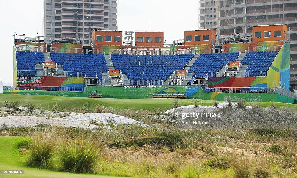 A general view of the grandstands behind the 18th green during a practice round on Day 4 of the Rio 2016 Olympic Games at Olympic Golf Course on August 9, 2016 in Rio de Janeiro, Brazil.