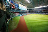 A general view of the grass mound in center field during the game between the Baltimore Orioles and Houston Astros at Minute Maid Park on June 4 2015...