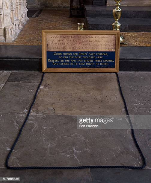 A general view of the gravestone of William Shakespeare at the Holy Trinity Church ahead of the 400th anniversary of Shakespeare's death on February...