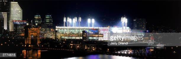 General view of the Great American Ball Park and the Cincinnati night skyline during the National League game between the Houston Astros and the...