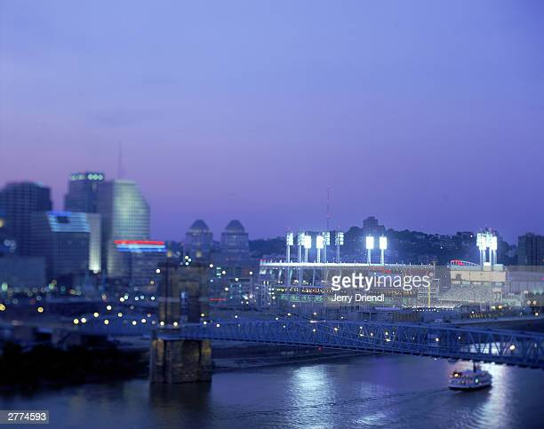 General view of the Great American Ball Park and the Cincinnati skyline during the National League game between the Houston Astros and the Cincinnati...