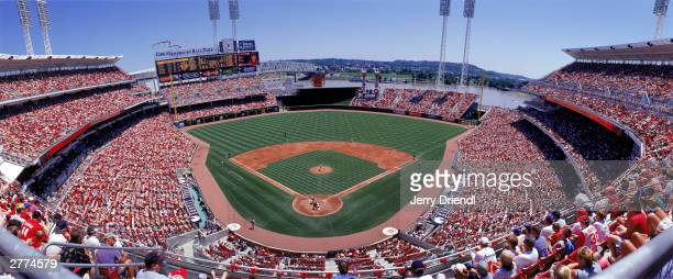 General view of the Great American Ball Park from home plate upper level during the National League game between the Cincinnati Reds and the Houston...