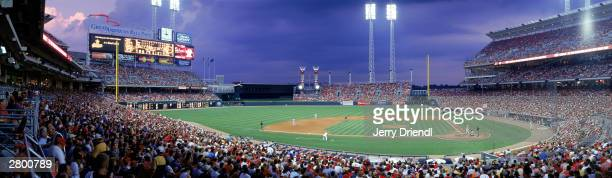 General view of the Great American Ball Park from the third base lower level at dusk during the National League game between the Cincinnati Reds and...