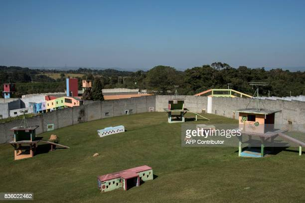 General view of the Great Apes Project a sanctuary for apes in Sorocaba some 100km west of Sao Paulo Brazil on July 28 2017 / AFP PHOTO / NELSON...