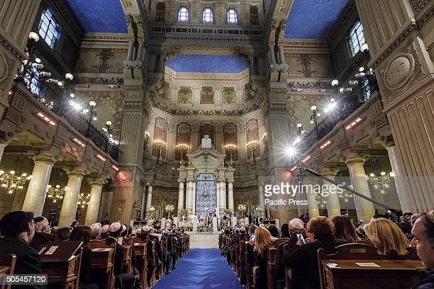 A general view of the Great Synagogue of Rome during the visit of Pope Francis Rome Italy