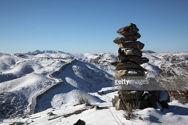 A general view of the Great Wall relics built in Qin period on January 6 2011 in Bayannur Inner Mongolia Autonomous Region of China