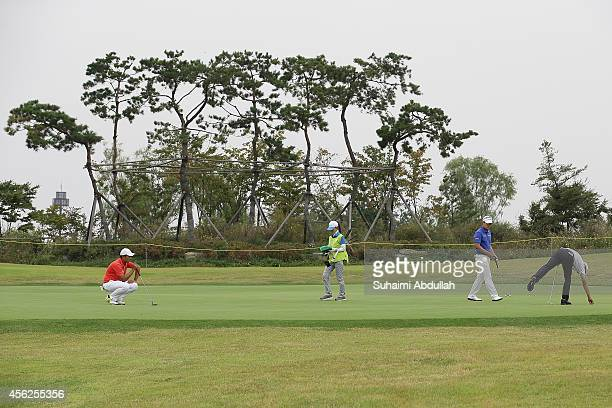 A general view of the green in the golf men's individual round 4 on day nine of the 2014 Asian Games at Dream Park Country Club on September 28 2014...