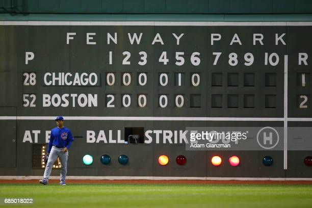 A general view of the Green Monster during a game between the Boston Red Sox and the Chicago Cubs at Fenway Park on April 30 2017 in Boston...