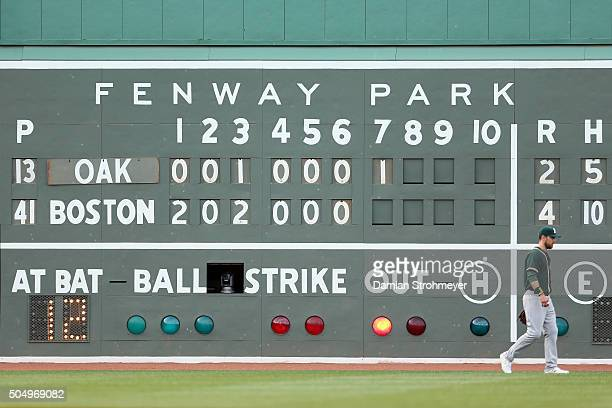 A general view of the Green Monster during the game between the Oakland Athletics and the Boston Red Sox at Fenway Park on Saturday June 6 2015 in...