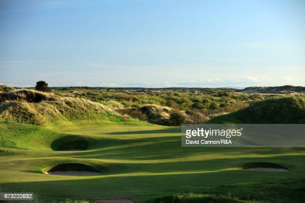 A general view of the green on the par 3 12th hole at Royal Birkdale Golf Club the host course for the 2017 Open Championship on April 24 2017 in...