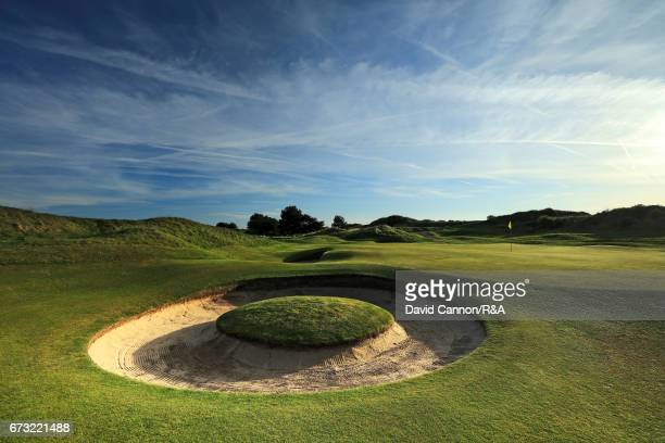 A general view of the greenside bunker at the par 3 seventh hole at Royal Birkdale Golf Club the host course for the 2017 Open Championship on April...
