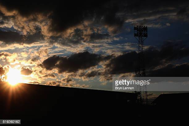 A general view of the Griffin Park flood lights priorto the Sky Bet Championship match between Brentford and Bolton Wanderers at Griffin Park on...