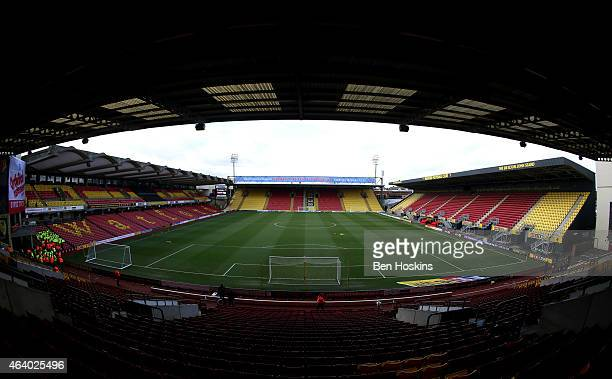 A general view of the ground ahead of the Sky Bet Championship match between Watford and Norwich City at Vicarage Road on February 21 2015 in Watford...